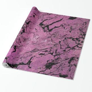 Papel De Regalo diseño abstracto de mármol rosado y negro