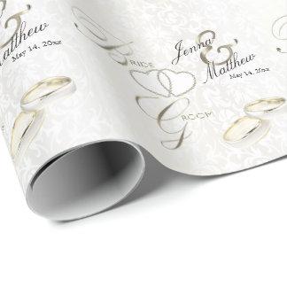 Papel De Regalo Diseño del anillo de bodas de novia y del novio