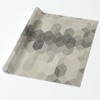 Papel De Regalo Diseño geométrico del cubo de la escala gris
