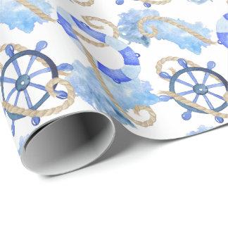 Papel De Regalo Diseño náutico de la acuarela azul con el ancla,