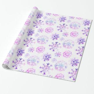 Papel De Regalo Diseño púrpura del navidad del copo de nieve de la
