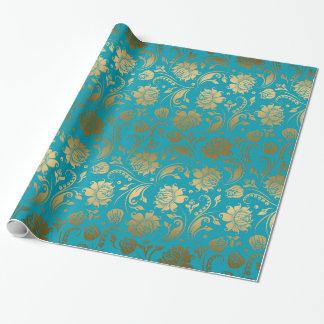 Papel De Regalo EGold y estampado de flores de las azules