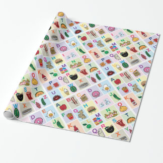 Papel De Regalo El alfabeto de ABC que aprende las comidas felices