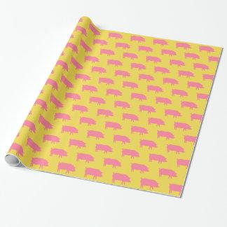 Papel De Regalo El cerdo siluetea rosa y amarillo del modelo