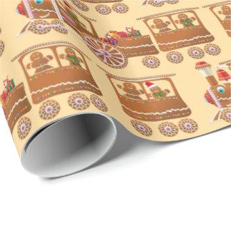 Papel De Regalo El vapor del pan de jengibre de Navidad entrena al