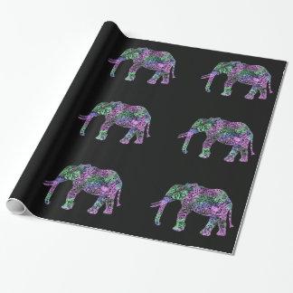 Papel De Regalo elefante de neón floral tribal colorido