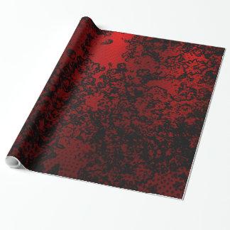 Papel De Regalo Elegante vibrante floral elegante negro rojo de