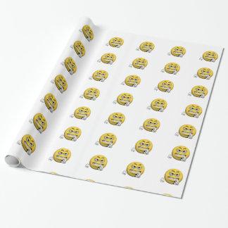 Papel De Regalo Emoticon enojado amarillo o smiley