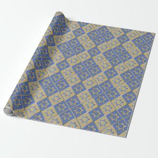 Papel De Regalo Estrella azul del oro de los paneles del arte de
