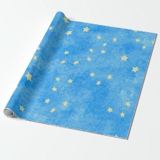 Papel De Regalo estrellas azules limpiadas con esponja