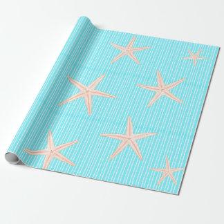 Papel De Regalo Estrellas de mar coralinas en la aguamarina azul