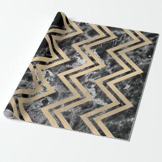 Papel De Regalo Falso zigzag Chevron Silve negro del mármol del