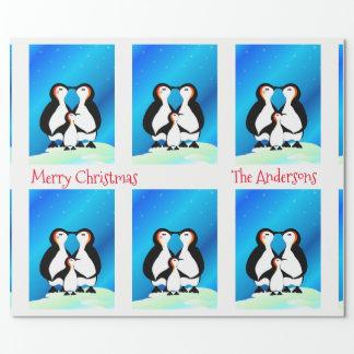 Papel De Regalo Familia linda de navidad de los pingüinos
