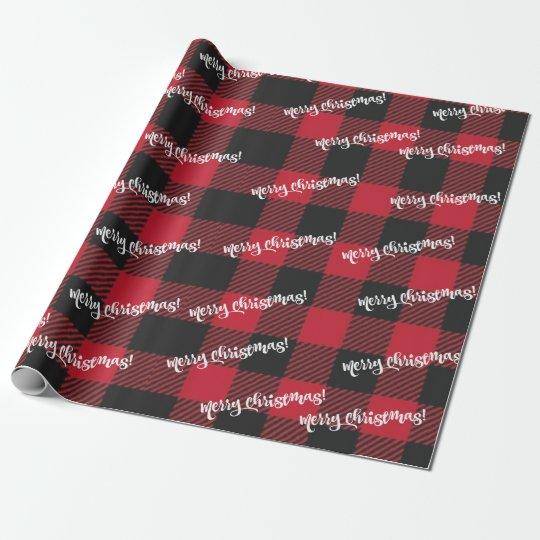 Papel De Regalo Felices Navidad negras y tela escocesa roja del