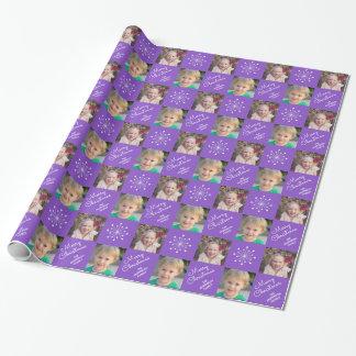 Papel De Regalo Felices Navidad púrpuras del collage festivo de la