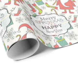 Papel De Regalo Felices Navidad y Feliz Año Nuevo Papá Noel
