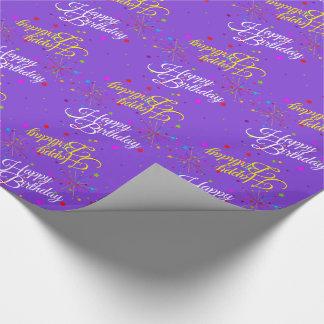 Papel De Regalo Feliz cumpleaños Editable en violeta (o su color)