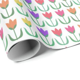 Papel De Regalo Filas coloridas de los tulipanes de la primavera