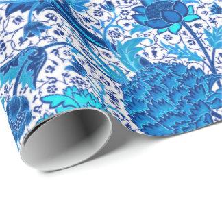 Papel De Regalo Floral jacobeo de William Morris, azul de cobalto