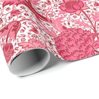 Papel De Regalo Floral jacobeo de William Morris, rosa del coral