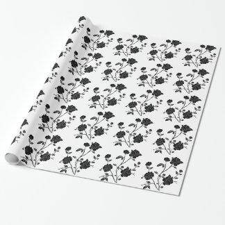 Papel De Regalo Flores del negro del estilo del vintage