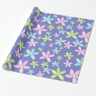 Papel De Regalo Flores en colores pastel coloridas lindas