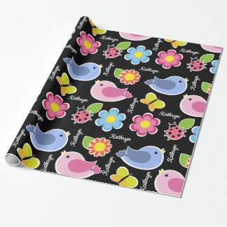 Papel De Regalo Flores, pájaros y mariquitas bonitos