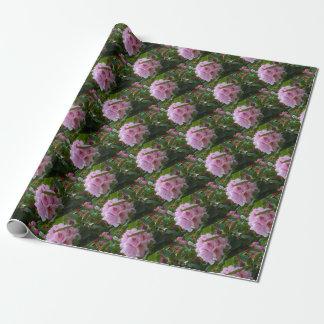 Papel De Regalo flores rosadas con rocío