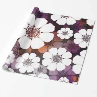 Papel De Regalo Flower power púrpura enrrollado