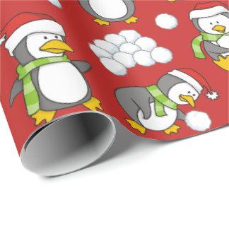 Papel De Regalo Fondo de los pingüinos del navidad