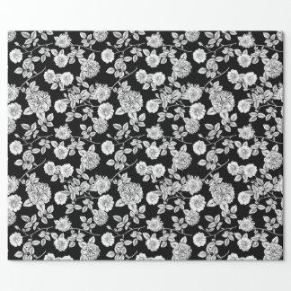 Papel De Regalo Fondo floral blanco del negro el | DIY del vintage