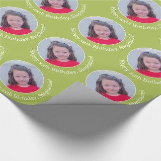 Papel De Regalo Foto personalizada con el saludo del cumpleaños -