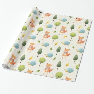 Papel De Regalo Fox lindo y un caracol y árboles y niños de las