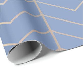 Papel De Regalo Geometría de plata azul gris del Minimalism de