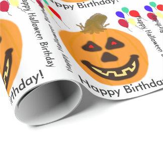 Papel De Regalo Globos anaranjados de las calabazas del cumpleaños