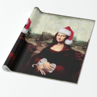 Papel De Regalo Gorra de Santa del navidad de Mona Lisa