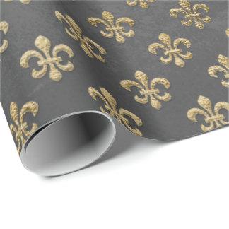 Papel De Regalo Grafito real de la flor de lis sucia gris del oro