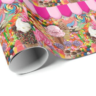 Papel De Regalo Helado dulce estupendo del caramelo divertido
