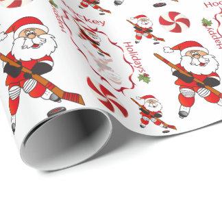 Papel De Regalo Hockey Papá Noel de las Felices Navidad