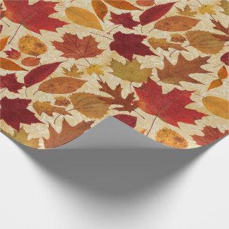 Papel De Regalo Hojas de otoño en beige