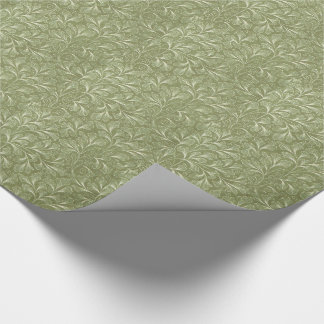 Papel De Regalo Hojas del biloba del Ginkgo en verde salvia