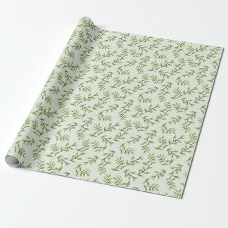 Papel De Regalo Hojas lindas elegantes del verde del vintage