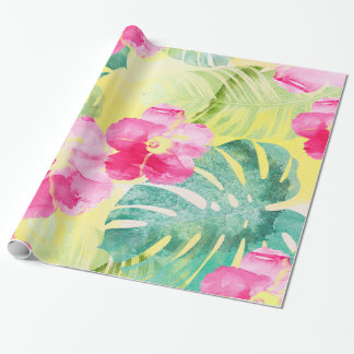Papel De Regalo Hojas tropicales del plátano de las flores rosadas