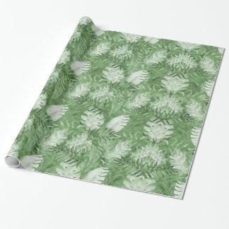 Papel De Regalo Hojas tropicales del verde de la acuarela