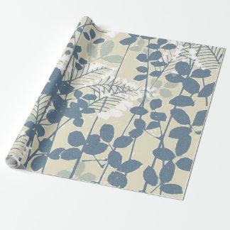 Papel De Regalo Impresión azul floral de las flores del arte