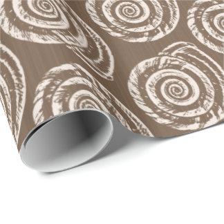 Papel De Regalo Impresión de bloque espiral del Seashell, moreno