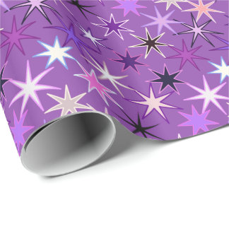 Papel De Regalo Impresión moderna de Starburst, púrpura violeta y