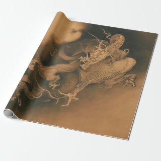 Papel De Regalo Kanō Hōgai dos dragones en nubes