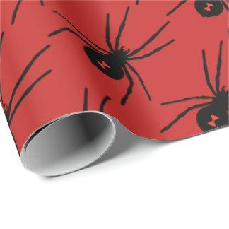 Papel De Regalo La araña del negro del día de fiesta de Halloween