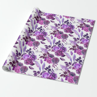 Papel De Regalo La púrpura florece botánico floral violeta de la